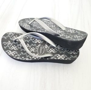 Havaianas High Fashion Wedge Flip Flops Rhinestone